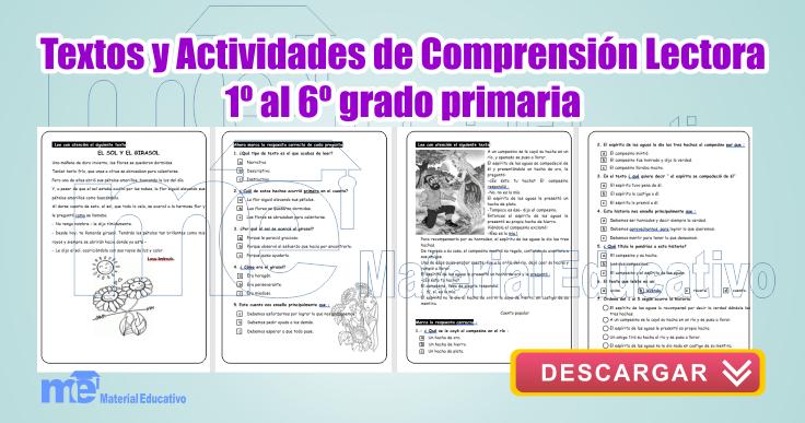 Textos y actividades de comprensión lectora 1º a 6º grado primaria