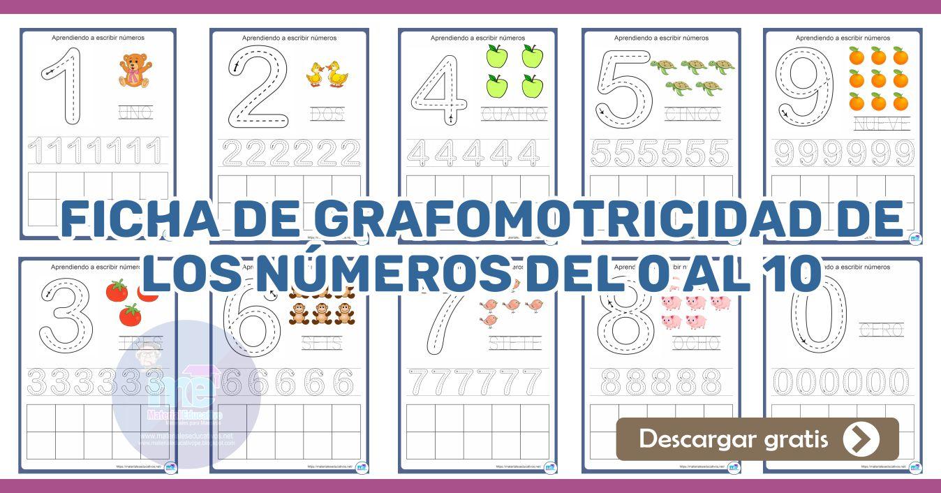 Ficha de grafomotricidad de los números del 0 al 10
