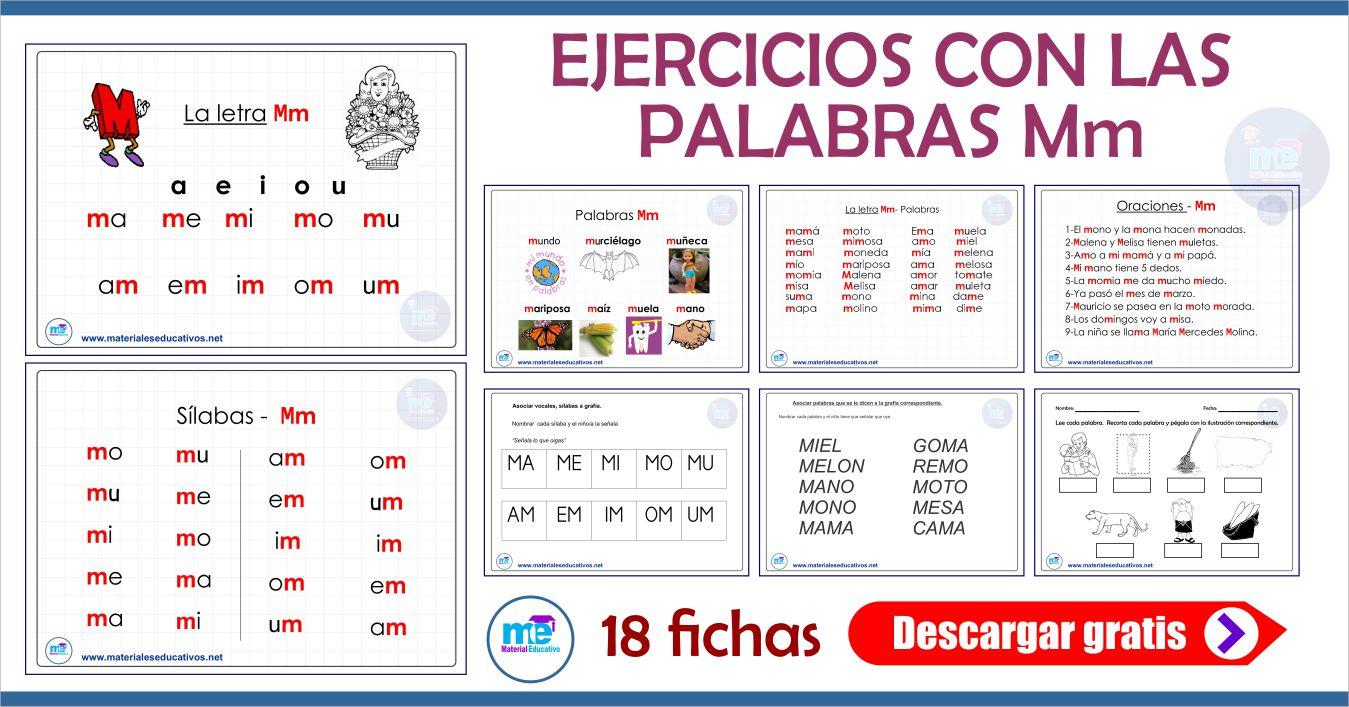 EJERCICIOS CON LAS PALABRAS Mm
